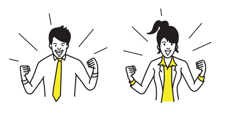 Happy and ecstastic businessman and businesswoman, holding fists both side, in concept of winning, success, celebrating, excited. Outline, contour, line, art, doodle, hand drawn, sketch, cartoon, simple design.