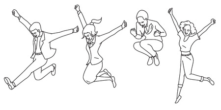 Vector illustration full length characters of various people, jumping in the air with expression of happiness, cheerful, fun, joy, success, celebration, winning. Outline, line, art, contour, hand drawn, sketch, doodle, cartoon, design. Diversity, multi-et