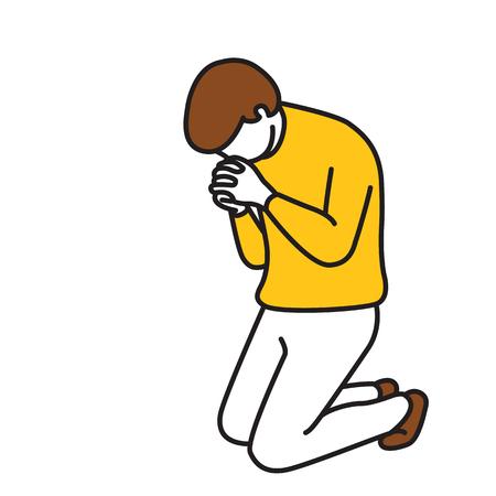 Ilustración vectorial carácter de longitud completa del hombre, de rodillas hacia abajo, la celebración de las manos, rezando, haciendo la adoración, concepto religioso. Esquema, bosquejo dibujado a mano, arte de línea, doodle, estilo de la historieta, color de la vendimia.