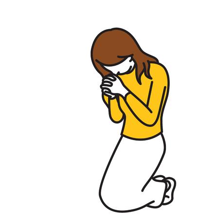 Vector illustratie volledige lengte karakter van vrouw, knielen neer, handen houden, bidden, aanbidding, religieuze concept. Schets, handgetekende schets, lijnkunst, doodle, cartoonontwerp, vintage kleur.