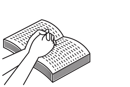 hands holding praying on open bible book vector illustration
