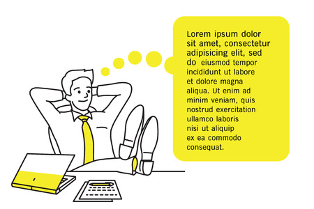 Vector illustration character of businessman leaning over his chair, relaxing on his desk, put shoes on table,  thinking of something, blank space for your text and design. Outline, hand drawn sketch, line art, simple style.