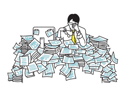 Vector illustratie van zeer moe en uitgeput zakenman, zittend aan zijn tafel, overstroming met werkdocument vel, concept in overwerkt, te veel werken, erg druk, benadrukt, deadline. Overzicht, zeer fijne tekeningen, handschets, eenvoudig ontwerp.