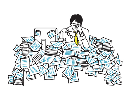Vector illustration of very tired and exhausted businessman, sitting at his table, flood with working paper sheet, concept in overworked, too much working, very busy, stressed, deadline. Outline, line art, hand draw sketch, simple design.