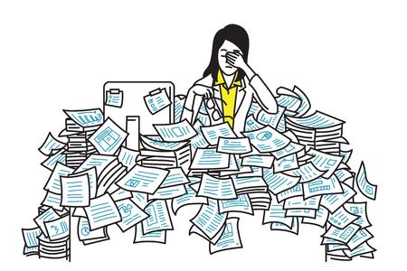 Zeer moe en uitgeput zakenvrouw, zittend aan tafel, overstroming met papieren blad, concept in overwerkt, te veel werken, deadline. Overzicht, zeer fijne tekeningen, hand tekenen schets, eenvoudig ontwerp.