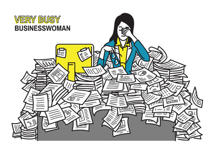 Vector illustration of very tired and exhausted businesswoman, sitting at his table, flood with working paper sheet, concept in overworked, too much working, very busy, stressed, deadline. Outline, line art, hand draw sketch, simple color design.