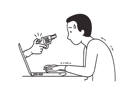 Illustration of hand with glove holding gun coming out of laptop screen, aiming to attack internet user via social network.  Cartoon, outline, linear, line art, hand draw sketching design, black and white style.