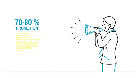 Businessman speaking with paper megaphone, announcement, warning, note, notification, promotion, advertisement, communication concept. Outline, thin line art, hand drawn sketch design, simple style.