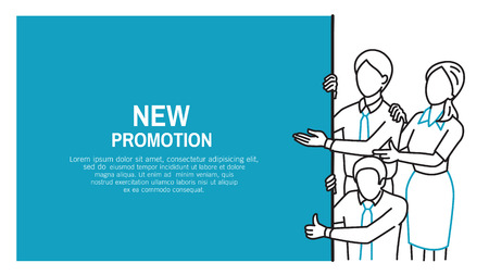 Businesspeople, man and woman as team work, pointing at blank advertisement board and giving thumb up, copyspace and sample text. Outline, thin art line, contour, doodle, hand drawn sketch, cartoon design, simple style. Vettoriali