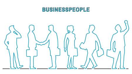 Vector illustration outline contour of businesspeople in various activities, businessman and businesswoman. Outline, thin line art, contour, hand drawn, doodle, cartoon, silhouette, character, simple style. Çizim