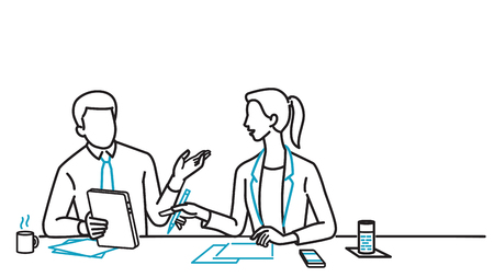 Businessman and businesswoman sitting on table, holding digital tablet, discussing together. Line art, linear, outline, thin line, hand drawn sketching design, simple style.