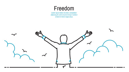 Happy businessman standing and stretching two hands towards sky, business concept in freedom, happiness, peaceful. Outline, thin line art, linear, hand drawn sketching design, simple style. Çizim