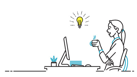 Businesswoman, female office worker, sitting at her workplace, happy and smiling, holding and drinking hot coffee, thinking and getting idea. Outline, thin line art, linear, hand drawn sketching style, simple design.