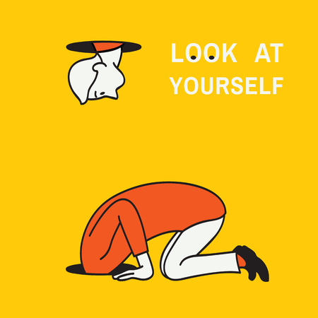 Abstract background vector illustration of man kneel down and looking at a hole to look after something but find himself to look at his own body, concept of look at yourself. Hand drawn sketching, linear, style.