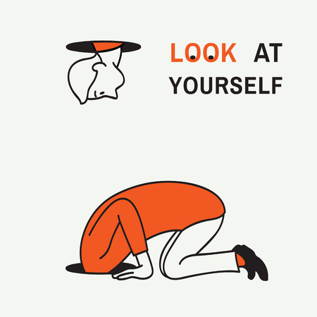 Abstract illustration of man kneel down and looking at a hole to look after something but find himself, concept of look at yourself. Hand drawn sketching, linear, white background, simple color.