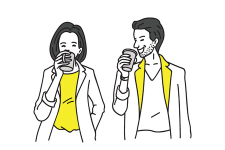 Businessman and businesswoman taking a break by drinking coffee.
