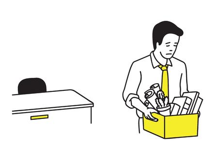 Uomo d'affari o impiegato che ottiene licenziato e che tiene la scatola di appartenenza, uscendo dall'ufficio. Vettoriali
