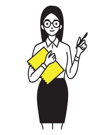 Jonge mooie vrouwelijke stagiair bedrijf notebook met pen, lachend en zelfverzekerd.