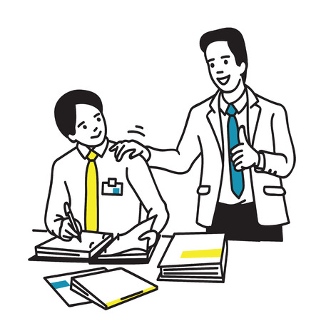 Young intern office worker get good compliment, thumbs up hand sign, from professional executive businessman.