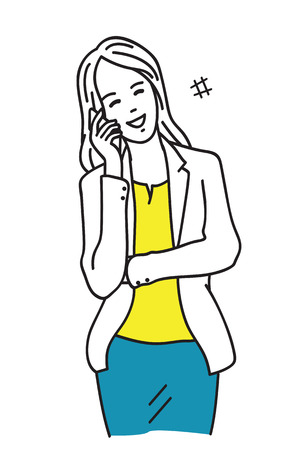 Vector illustration of smiling and happy businesswoman talking and chatting on smartphone, office worker lifestyle. Outline, linear, thin art line, hand draw sketching style, simple design. 일러스트