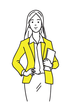 Relaxed and cheerful businesswoman, happy and smiling, holding plastic paper work. Modern happy and confident lifestyle office worker concept. Outline, thin line art, linear, hand drawn sketch design. Vettoriali