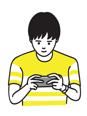 Young man, holding smartphone and playing game. Outline, thin line art, linear, doodle, hand drawn sketch design. Vettoriali