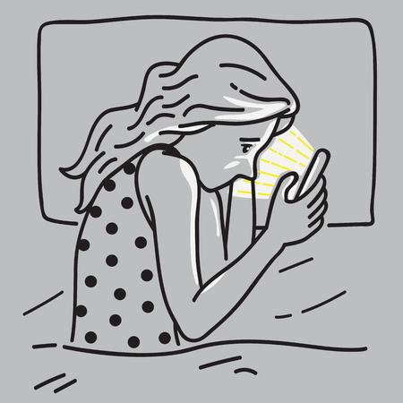 Vector illustratie van verveelde vrouw. Liggend in bed, gebruikend smartphone, sociaal netwerk. Concept van verslaving in technologie.