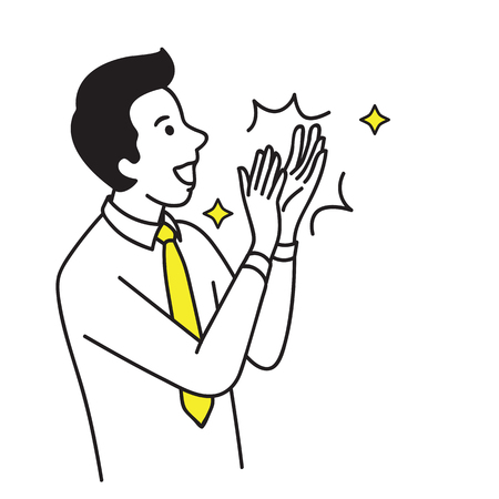 Vector illustration portrait character of businessman. Happy, smiling, clapping hand to celebrating or congratulation. Hand draw sketch design. Vettoriali