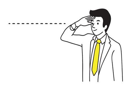 Geschäftsmann, der vorwärts und jenseits schaut, um Zukunft zu sehen. Geschäftskonzept der Langstreckenvisionsfähigkeit. Skizzendesign des Handabgehobenen betrages, einfache Art.