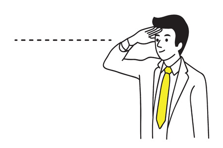Homme d'affaires impatient et au-delà de voir l'avenir. Concept d'entreprise de la capacité de vision à longue distance. Main dessiner esquisse, style simple.