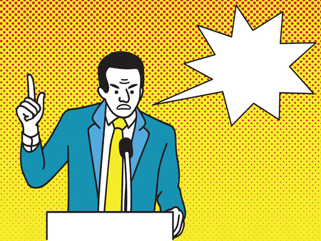 Radical politician shouting angry at podium. Showing finger with unhappy facial expression. Cartoon character with dot vintage background and speech bubble. Illustration