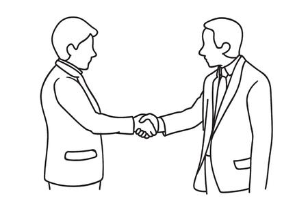 Twee zakenlieden die handdruk maken. Handen schudden, in concept overeenkomst, bedrijf of partnerschap. Hand getrokken schets ontwerp.