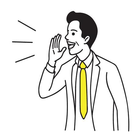 Vector Illustrationsporträtcharakter der Geschäftsmannerhöhungshand nahe Mund. Schreien, reden und sprechen. Hand gezeichnetes Skizzendesign, einfache Art.