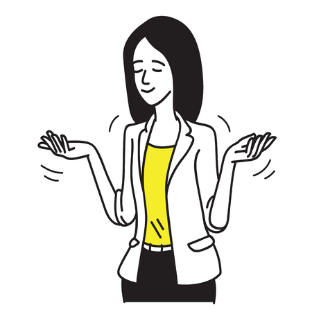 Happy businesswoman shrugs her shoulders. Shrugging, closed her eyes with satisfy facial expression. zhand drawn sketch design. Illustration