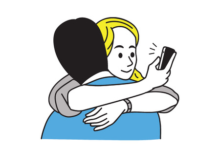 Woman cheating her boyfriend by texting, checking, and looking at her smartphone while embracing boyfriend.  Line art hand-drawn sketch design.