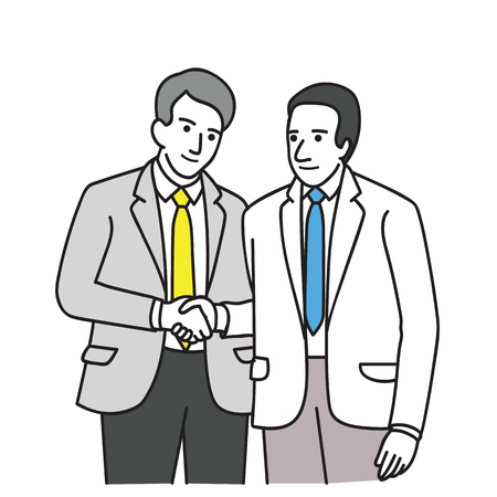 Two businessmen shaking hands, a concept of agreement or partnership. Line art hand-drawn sketch design.