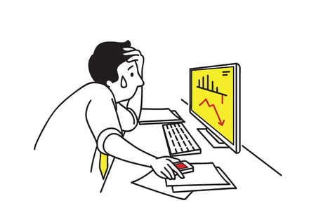 Vector character of businessman, depressed and stressed, put a hand on forehead, looking at the computer screen with falling graph of the stock market.  Line art hand-drawn sketch design. Illustration