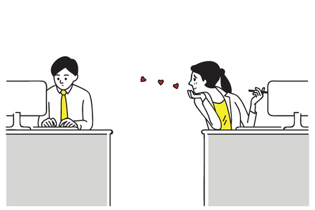 Businesswoman or office worker secretly love somebody in office, or one-sided love, having a secret crush on him. Vector illustration,  Line art hand-drawn sketch design.