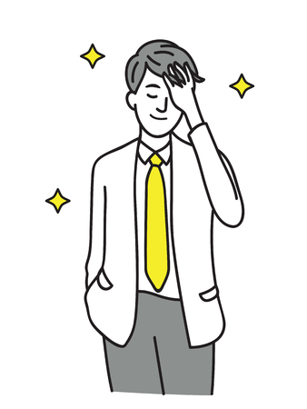 Handsome young businessman, touching his hair, smiling. Line art hand-drawn sketch design. Çizim