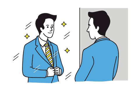 Handsome businessman looking in the mirror,  adjusting his suit. Vector illustration,  Line art hand-drawn sketch design.