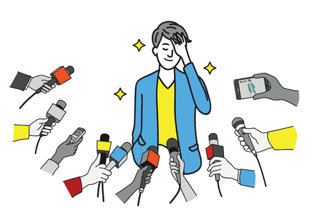 A pretty young celebrity wearing a suit, touching his hair and smiling while being interviewed by journalists. Line art hand-drawn sketch design.