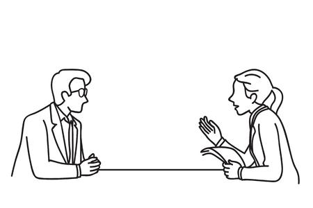 Vector illustratie van zakenman en zakenvrouw aan een tafel met een discussie. Lijn kunst handgetekende schetsontwerp. Vector Illustratie