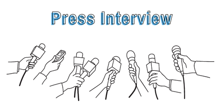 Various press reporter hands with microphones and recorder in a press interview.