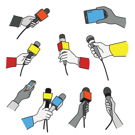 Vector illustration set of various press reporter hands with microphones and recorder in a press interview. Çizim