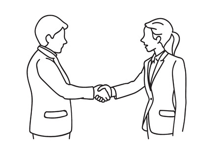 Two businessmen, man and woman making handshake in a concept of partnership.  Line art hand-drawn sketch design. Çizim