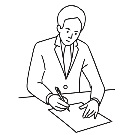 Vector illustration of a businessman sitting in the office and signing an agreement.  Line art hand-drawn sketch design.