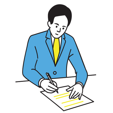 Illustration of businessman sitting in office signing an agreement. Çizim
