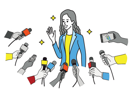 Pretty young celebrity in uniform of businesswoman, smiling and waving hand and get interviewed by journalist, news agent, press media, reporters. Outline, linear, thin line art design.