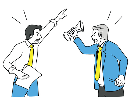 Two businessman turn face to face, arguing, fighting, yelling, shouting to each other, business concept in relationship problem among colleagues, coworkers and friends. Outline, linear, hand drawn sketch, vector illustration chracter design.