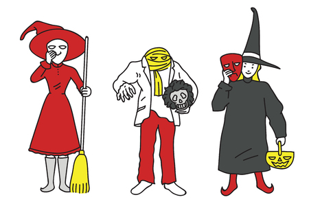 Vector illustration character of young adult dressed in Halloween costumes. Outline, linear, thin line art, doodle, cartoon, hand drawn sketch design. Illustration